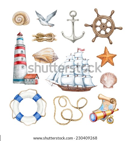 Set of a watercolor nautical illustrations  - stock photo