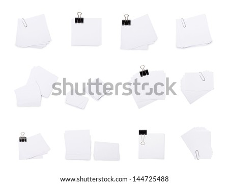 Set of a white paper sheets for letter with clip isolated on a white background - stock photo