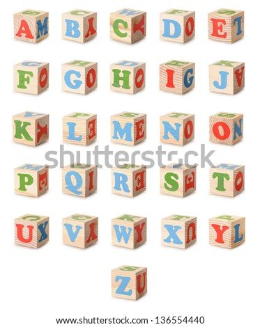 Set of a wooden alphabet blocks  isolated on a white background - stock photo