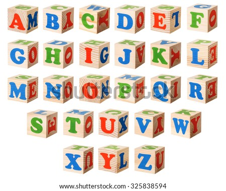 Set of a wooden blocks with letters of the English alphabet isolated on a white background - stock photo