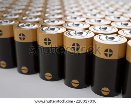 Set of AA-sized batteries - stock photo
