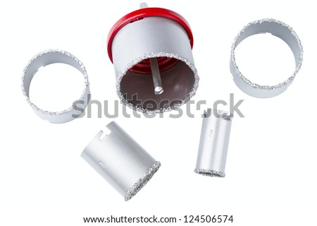 set of abrasive rings isolated on a white background