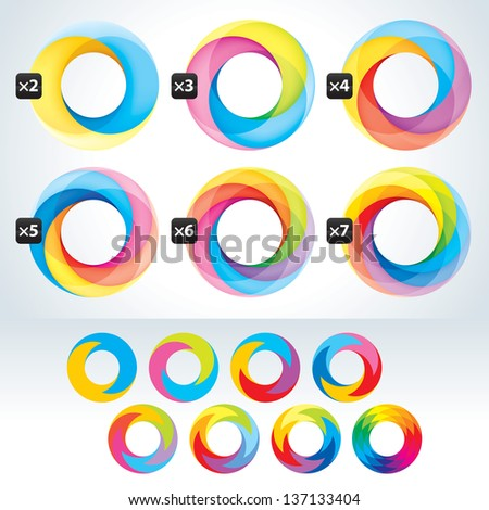 Set of abstact Infinite loop signs template. Corporate icons - stock photo