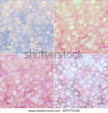 set of abstract backgrounds, heart shaped bokeh lights - stock photo