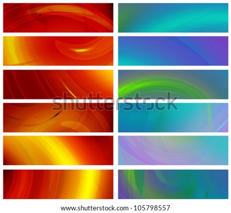 Set of abstract banners: six red banners and six blue banners 480x1800px