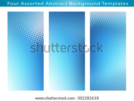Set of 3 Abstract blue design backgrounds jpg templates with dot pattern for various artworks, cards, banners, ads and much more. Plenty of space for text. - stock photo