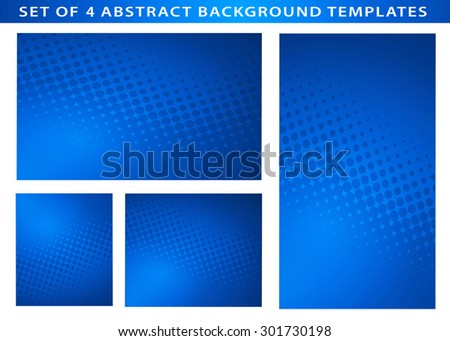 Set of 4 Abstract Business Blue  Background Templates with dot swirls and plenty of text space.Perfect for Healthcare and Medical communications.