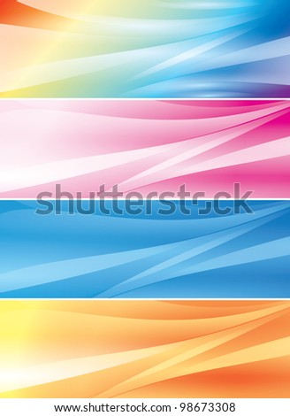 set of abstract color  backgrounds (headers) - stock photo
