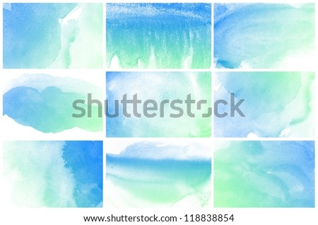 Set of Abstract colorful blue water color art background hand paint