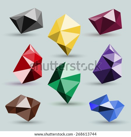 Set of abstract colorful icons polygonal crystals isolated on a gray background. Rasterized version. - stock photo