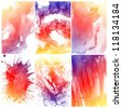 Set of Abstract colorful water color art background hand paint - stock photo