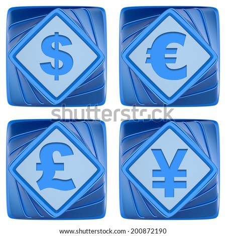 Set of abstract 3d icons isolated on white background. - stock photo