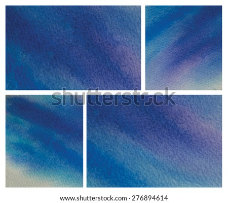 Set of abstract deep blue watercolor art background hand paint