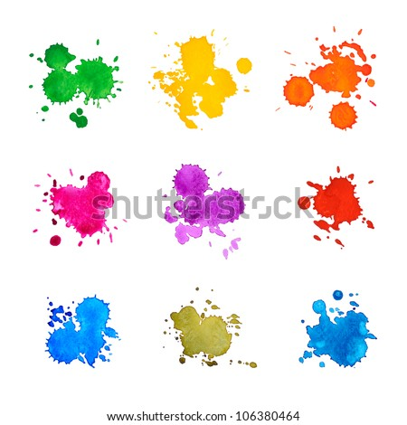 Set of Abstract Drops Watercolor Hand Drawn and Painted, Isolated on White - stock photo