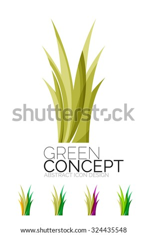 Set of abstract eco plant icons, business logotype nature green concepts, clean modern geometric design. Created with transparent abstract wave lines - stock photo