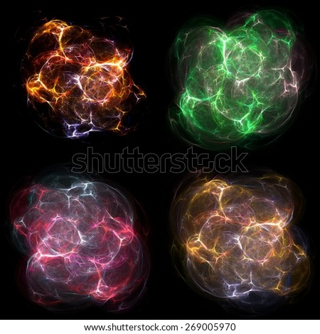 Set of abstract explosions, electrical glitches or dust bursts. Sci-fi design elements isolated on black background.