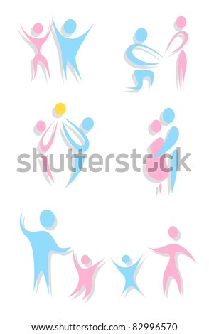 Set of abstract family icons