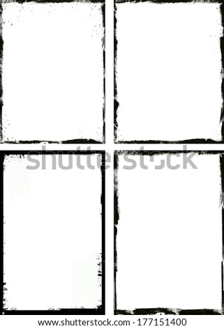 set of abstract grunge border design element - stock photo