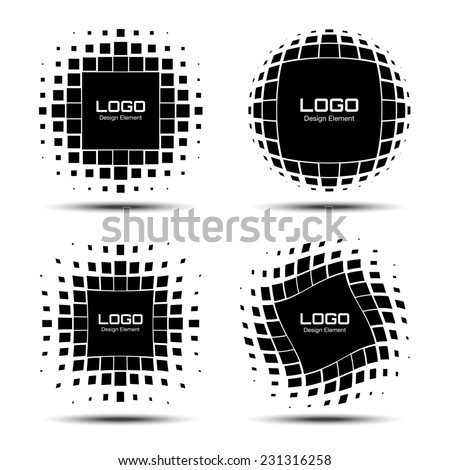 Set of Abstract Halftone Logo Design Elements, raster illustration  - stock photo