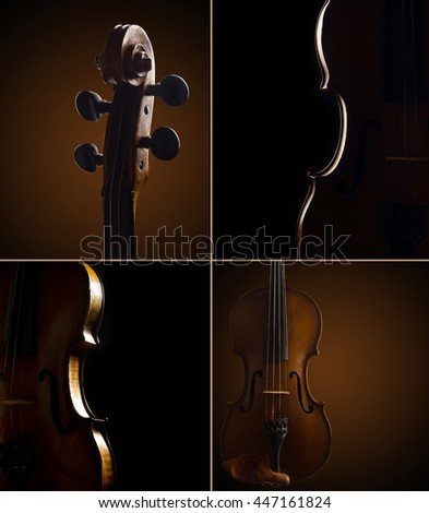 set of abstract musical dark backgrounds with violins - stock photo