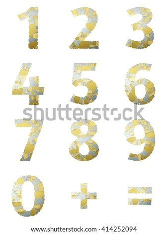 Set of abstract numbers for material design creative project. Decorative numerals with the pattern of stone masonry. Gold and silver texture. Decorative figures. Arabic numeral, equal sign, plus sign. - stock photo