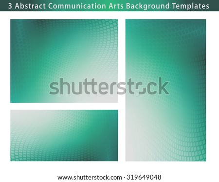 Set of 3 Abstract soft teal dot swirl medical or business background template illustrations with plenty of copy space.  - stock photo