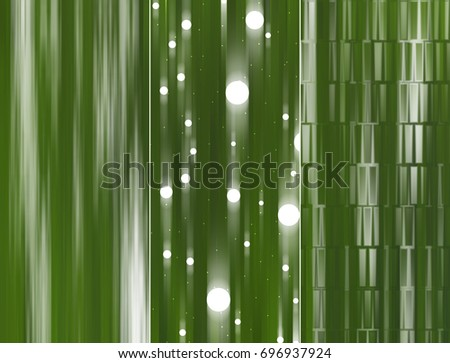 Set of abstractions picture. Three background green illustration.