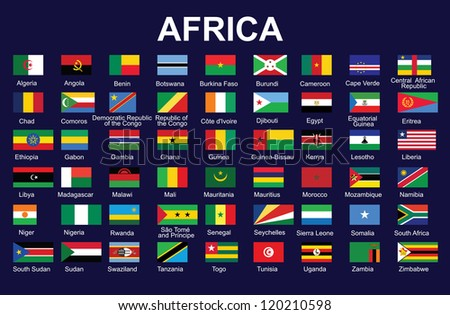 set of accurate flags of Africa - stock photo