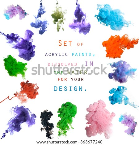 Set of acrylic paints, dissolved in the water for your design. Studio photography on a white background.  - stock photo