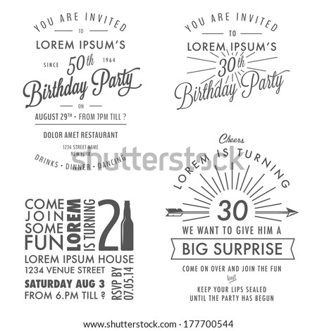 Set of adult birthday invitation vintage typographic design elements - stock photo
