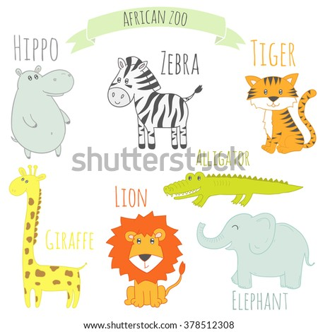 Set of african animals. Cute colorful zoo. Isolated illustration with zebra, tiger, lion, elephant, hippo, giraffe and alligator. Education card for kids - stock photo