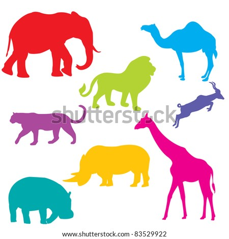 Set of African animals, isolated and grouped objects over white background - stock photo