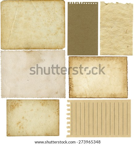 Set of aged, worn and stained papers isolated on white with space for text or images - stock photo