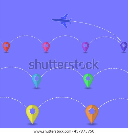 Set of Airplane Icon Isolated on White Background. Around the World Travelling by Plane. Summer Vacation. - stock photo