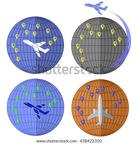 Set of Airplane Icons Isolated on White Background. Around the World Travelling by Plane. Summer Vacation. - stock photo