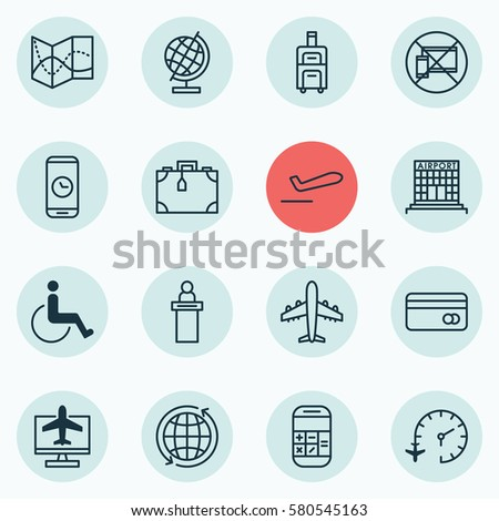 Set 16 Airport Icons Includes Forbidden Stock Illustration 580545163