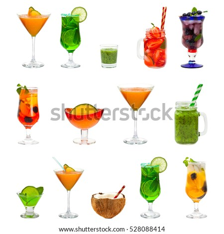 Set of Alcohol and Fruit Cocktails and Drinks Isolated on white background