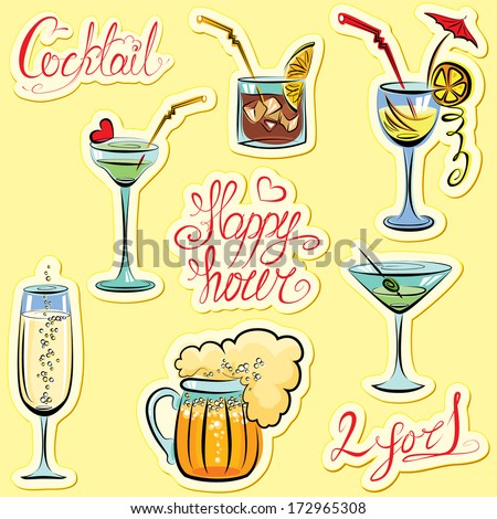 Set of alcohol drinks images and hand written text: Happy Hour, Cocktail, 2 for 1. Calligraphy elements for cafe or restaurant design. Raster version - stock photo