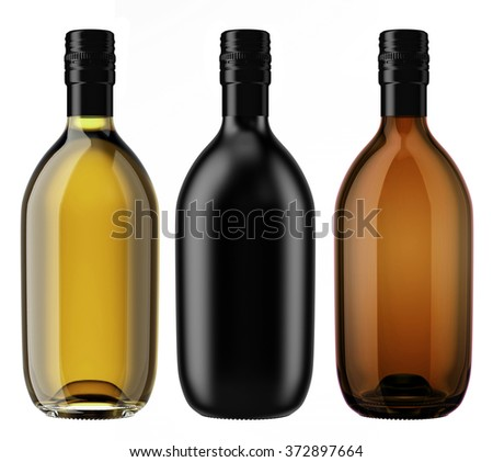 Set of alcohol glass and ceramic bottles with a screw cap isolated on white background. Tincture, whiskey, cognac, brandy, wine, cosmetics, medicine, syrup, oil, beer, cider. 3D Mock up for you design - stock photo