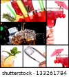 Set of alcoholic cocktails background - stock photo