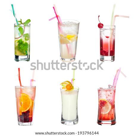 Set of alcoholic cocktails isolated on white background  - stock photo