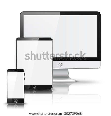 Set of all size screen devices for site preview - computer, tablet, phone sizes, isolated on white background with reflection.  - stock photo