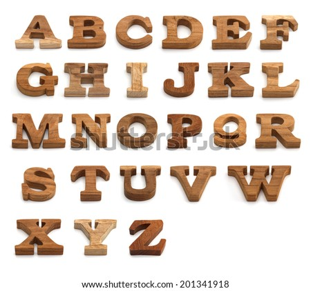 set of Alphabet made from wood  - stock photo