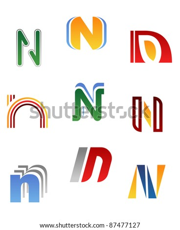 Set of alphabet symbols and elements of letter N, such a logo. Vector version also available in gallery