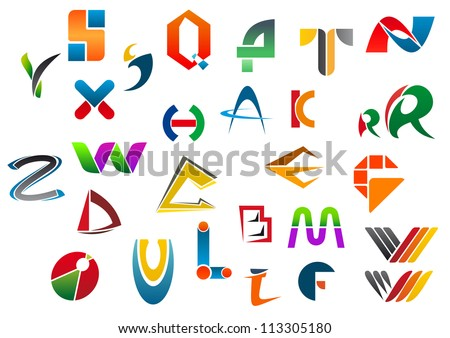 Set of alphabet symbols and icons from A to Z, such a logo template. Vector version also available in gallery - stock photo