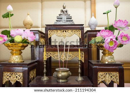 set of altar table in Thailand - stock photo
