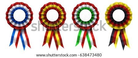 Set of American/French , Spanish , Italian and German ribbon cockades isolated on white , National flag rosettes , 3d illustration