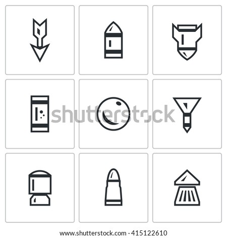 Set of Ammunition Icons. Arrow, Bullet, Bomb, Shot, Core, Dart, Explosive Patron, Rrifle Cartridge, Pneumatic Chuck. Striking element of small arms. Isolated symbols on a white background - stock photo