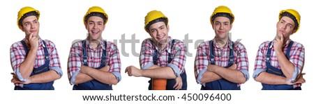 Set of an caucasian construction worker - stock photo