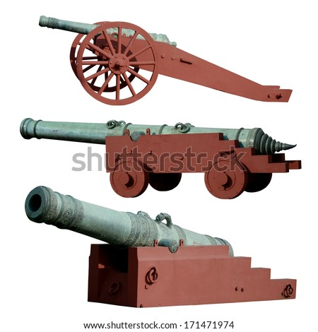 Set of ancient cannon isolated on white background - stock photo